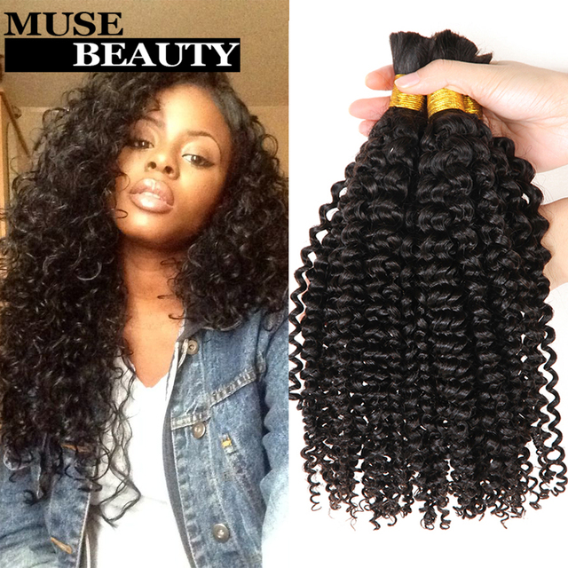 10A Peruvian Curly Hair 3 Bundles Crochet Extensions Human Bulk Queen Kinky