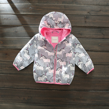 Cartoon Unicorn Girl Jacket Fall New Clothes Hooded Windproof Coat Active Casual Kids Printing Jacket Clothing casaco 18M-7Y