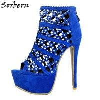 Sorbern Royal Blue Hollow Out Crystals Women Sandals High Heels Platform Plus Size 12 Shoes Women