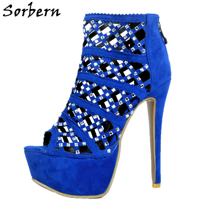 Sorbern Royal Blue Hollow Out Crystals Women Sandals High Heels Platform Plus Size 12 Shoes Women Sandals Rhinestones Platform royal blue women sandals hollow out thick heels open toe platform shoes woman sapato feminino sandalia feminina size 14 heels