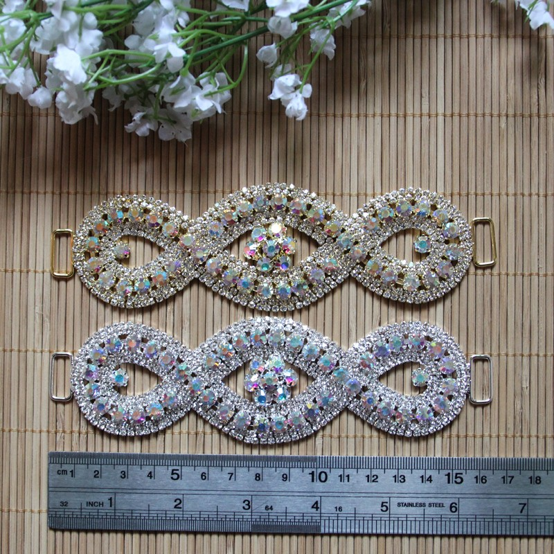 Free Shipping Wholesale 10pcs lot 6 39 39 Rhinestone Connector Apparel Buckle Bridal Bikini Connector Headband Connector LSRC021 in Buckles amp Hooks from Home amp Garden