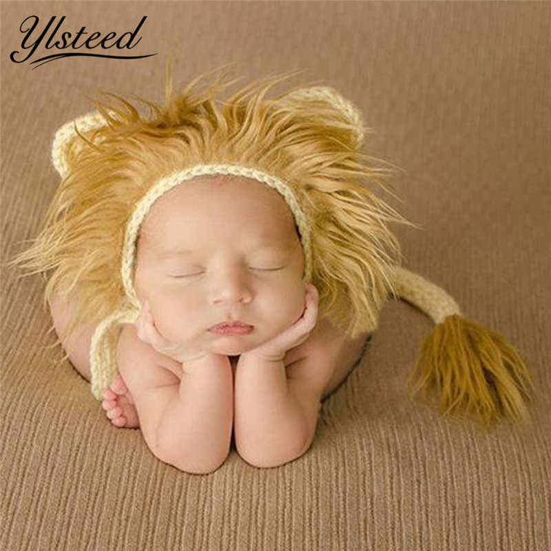 Baby Lion Hat and Tail Set Animal Style Baby Costume Newborn Photo Props Infant Cute Beanie Cap Crochet Outfit Picture Prop