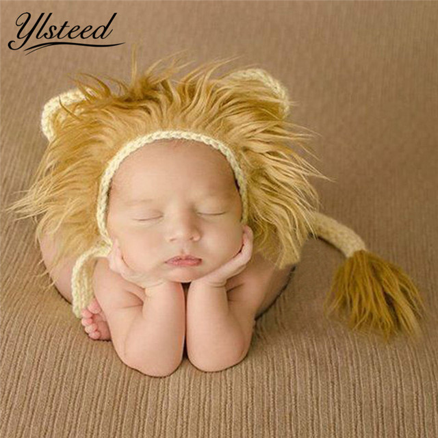 db4f7b61561 Baby Lion Hat and Tail Set Animal Style Baby Costume Newborn Photo Props  Infant Cute Beanie Cap Crochet Outfit Picture Prop