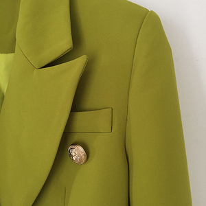 Image 4 - HIGH STREET New Fashion 2020 Designer Blazer Jacket Womens Metal Lion Buttons Double Breasted Blazer Outer Coat Ginger
