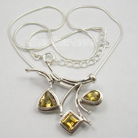 Chanti International . Silver FACETED YELLOW Citrines Snake Chain ART Necklace 18.5 Inches