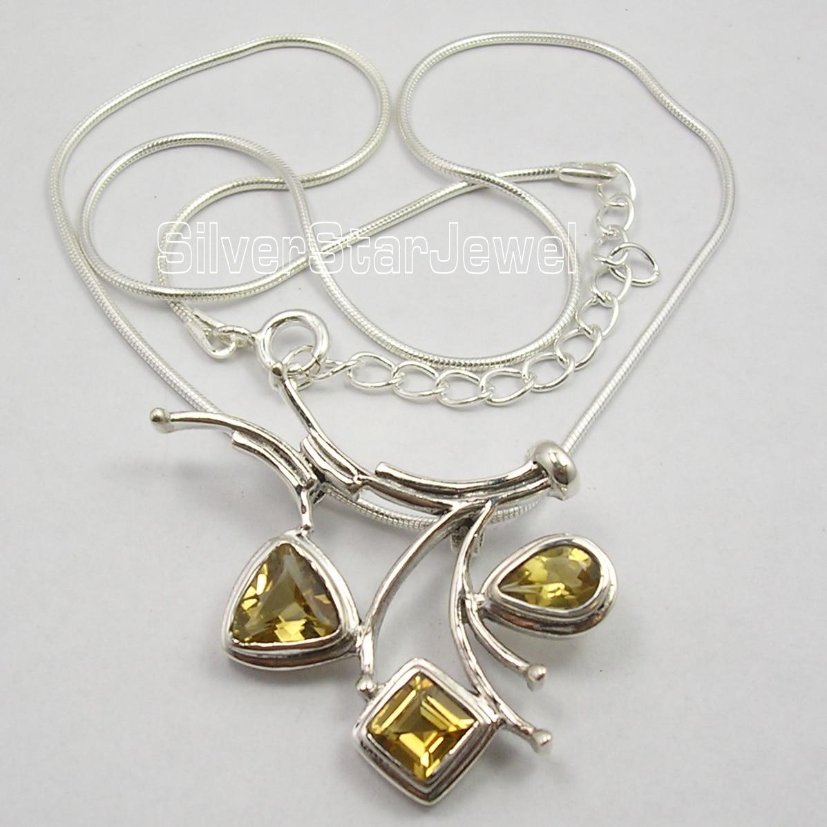 Chanti internacional Collar de Arte de cadena de serpiente de citrinas amarillas facetadas en plata de 18,5 pulgadas-in Collares colgantes from Joyería y accesorios    1