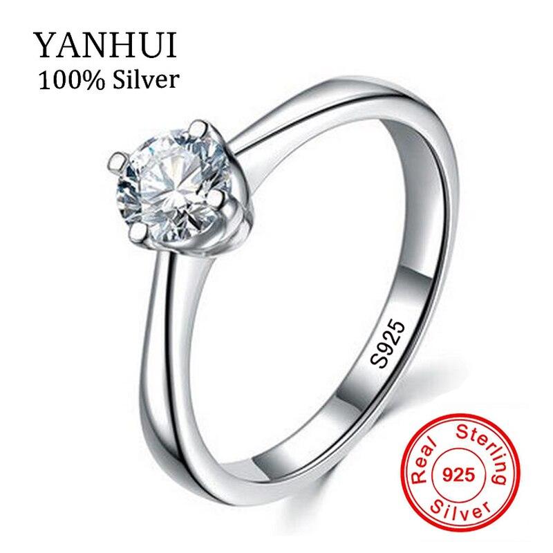 YANHUI 100% Fine Silver Solitaire Ring Wedding Jewelry for Women SONA Zircon CZ Diamant Engagement Ring Silver 925 Jewelry R040 mariposa en plata anillo