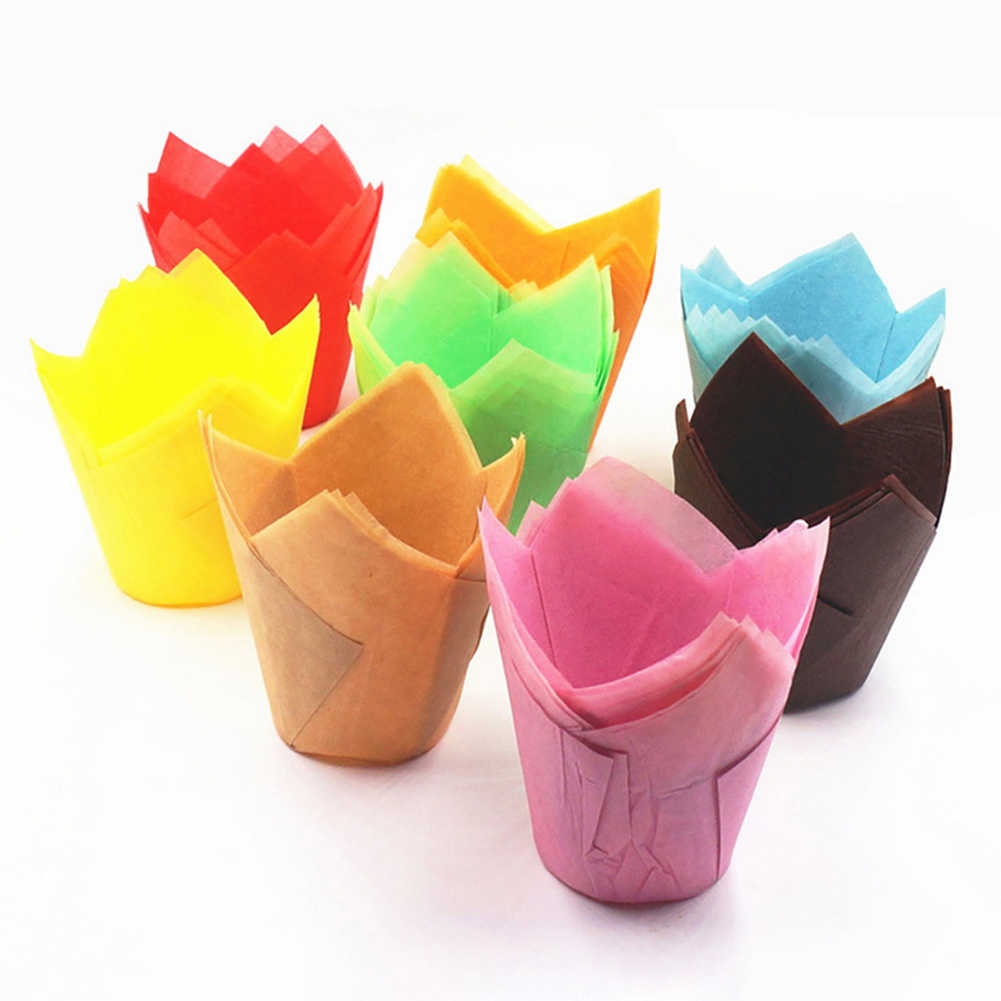 50Pcs Oil-proof Tulip Cake Cup Muffin Cupcake Liner Paper Holder Baking Tool Cake Tools decorating tools Party Supplies New