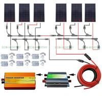 900W Solar System Complete kit: 6pcs 150W Solar Panel 45A Regulator 220V Inverter off Grid