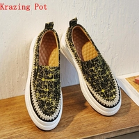 Krazing Pot 2018 sheep suede flat platform patterns leather movie star sneakers for women round toe slip on vulcanized shoes L73