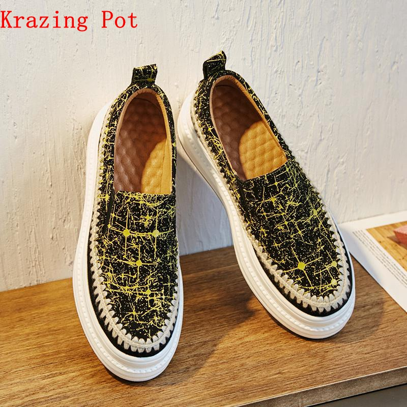 Krazing Pot 2019 sheep suede flat platform patterns leather movie star sneakers for women round toe slip on vulcanized shoes L73Krazing Pot 2019 sheep suede flat platform patterns leather movie star sneakers for women round toe slip on vulcanized shoes L73