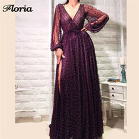 Aibye V Neck Pearls Evening Dresses Dubai Turkish Arabic Robe de soiree 2018 Newest Prom Gowns Formal Party Dress Abendkleider