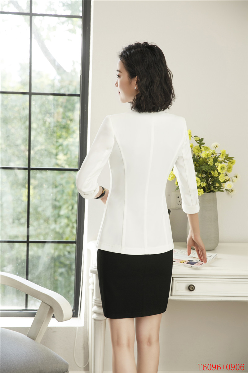 Blanc Vêtements Et D'affaires Pour kaki Costumes Noir vert Uniformes Manches Femmes Travail Les Veste Blazer De Moitié Robe Ensembles blanc Dames 8PwxYw
