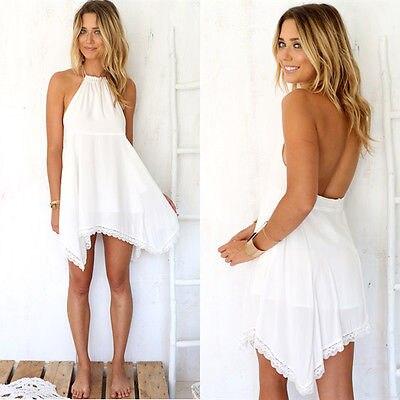 7c839e94386504 Hot Women Summer Casual White Lace Halter Lace Short Mini Dress Beach Wear