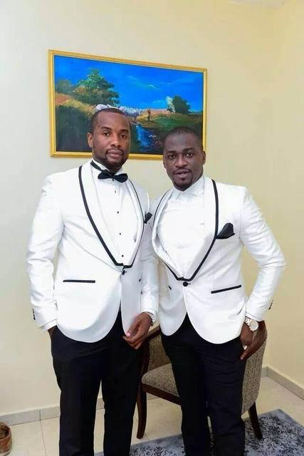 New Arrival One Button White Groom Tuxedos Groomsmen Mens Wedding ...
