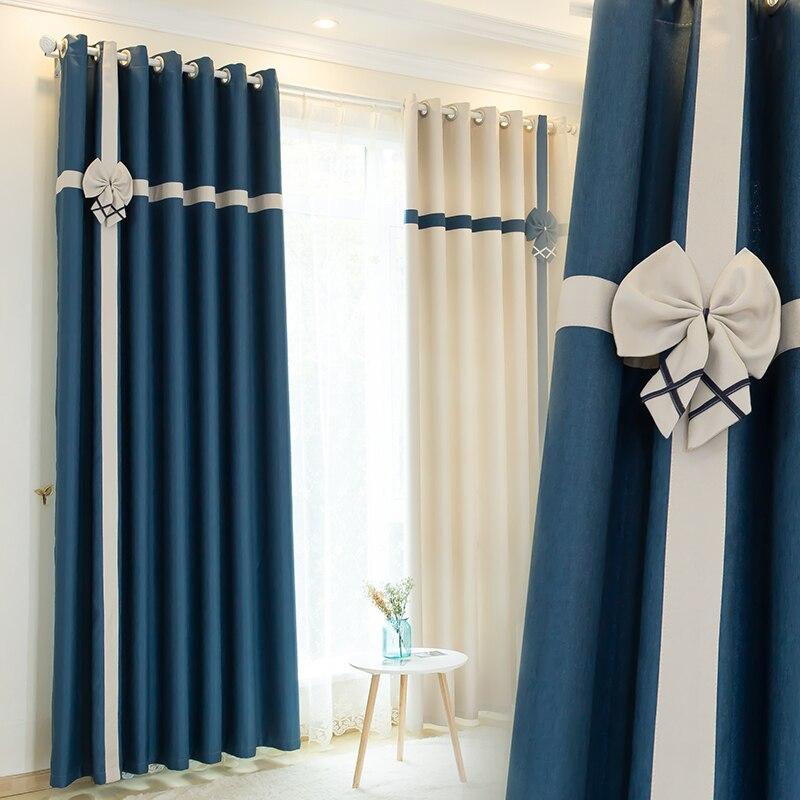 simanfei 2017 custom splicing mediterranean linen cotton child adult bedroom french window home hotel decoration black curtains - Black Hotel Decoration