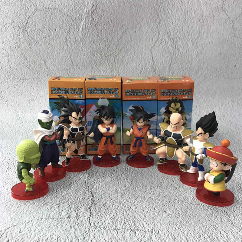 Dragon Ball Goku Vegeta Raditz Nappa pçs/set 8 Mini 1/10 scale painted Yamcha Piccolo Gohan Action Figure Modelo Toy Boneca presente