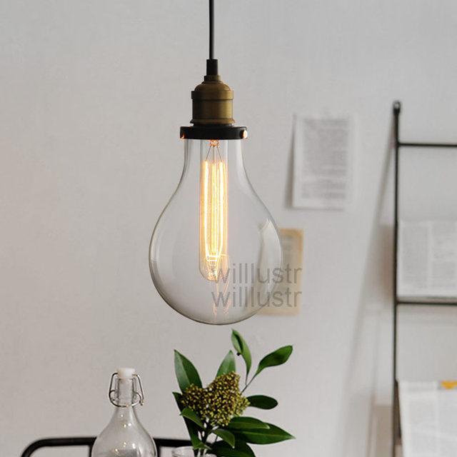 Teardrop Clear Glass Filament Single Pendant Lamp Hanging Lighting Water Drop Transpa Vintage Bulb Loft Bar Suspension Light
