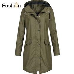 Plus rozmiar 5XL damska solidna kurtka przeciwdeszczowa z kapturem na zewnątrz wodoodporny długi płaszcz kobiety płaszcze przeciwdeszczowe długie piesze wycieczki kurtki z kapturem 2019 3
