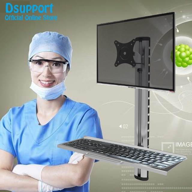 "Wall Mount Foldable Ergonomic Aluminum Sit-Stand Monitor+Keyboard Holder Full Motion Arm 15""-27""Monitor Stand Bracket"