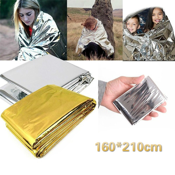 210*160CM Emergency Blanket Survival Rescue Insulation Curtain multi-thin lightweight Life-saving Military Travel accessories