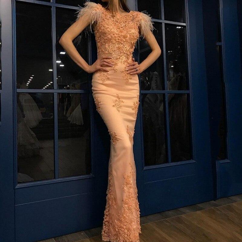 Elegant   Evening     Dress   Formal Gowns Long Appliques abendkleider vestidos de festa Feathers   Evening   Gowns avondjurken gala jurken