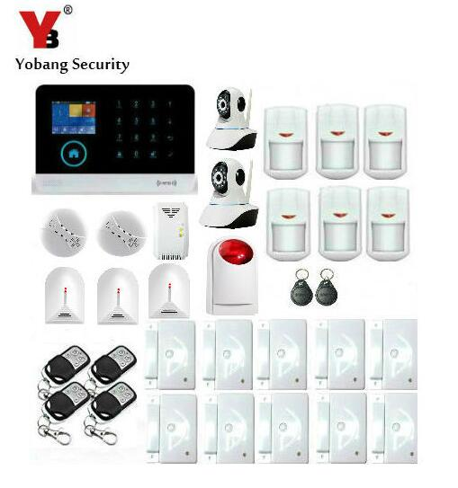 Yobang Security- IP Camera Surveillance Home security SMS GSM WIFI Alarm Kits With Red Strobe Flash Siren Gas/Smoke Sensor