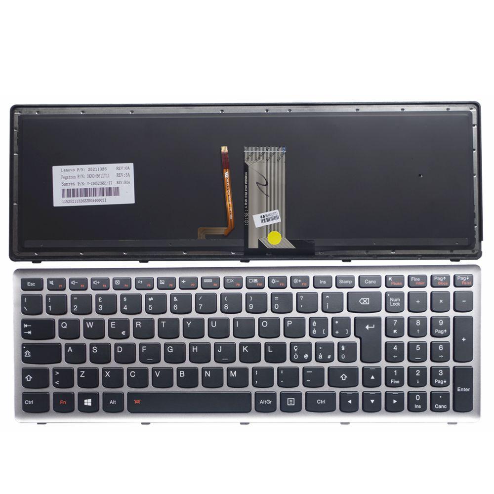 GZEELE Italy IT Keyboard For Lenovo Ideapad Z710 U510 Laptop keyboard silver frame with backlit backlight  GZEELE Italy IT Keyboard For Lenovo Ideapad Z710 U510 Laptop keyboard silver frame with backlit backlight