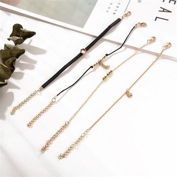 AY Bohemian Crystal Beads Anklet Set For Women Moon Pendant Bracelet on the Leg Jewelry 4