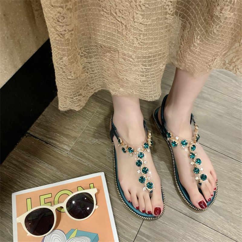 2019 חדש קיץ סנדלי נשים שטוח להחליק על מוצק בלינג קריסטל Rhinestones שרשרות בוהמיה מקרית אופנה גבירותיי נעלי XWZ5750