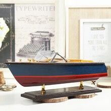 Средиземноморский стиль катер модель яхты ручной работы Имитация ремесла деревянная лодка декоративные украшения подарки европейские аксессуары