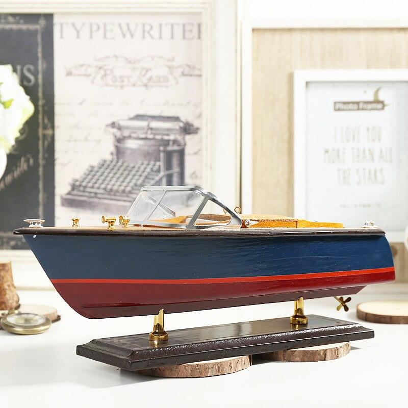 Style méditerranéen Hors-Bord Yacht Modèle Métier Fait Main Simulation En Bois Bateau Décoratif Ornements Cadeaux Européenne Accessoires
