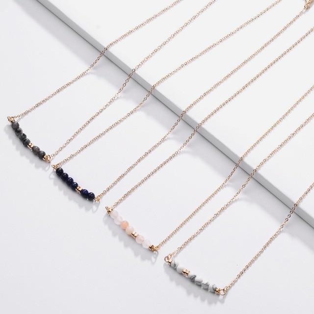 Fashion Jewelry Natural Stones Bar Pendant Choker Necklace Natural Stone Beads Bar Pendant Necklace