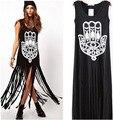 Новинка бахромой жилет платье женщины длинные рукавов о-образным шею цветочные сексуальная кисточкой черный о-образным шеи платье бесплатная доставка J95