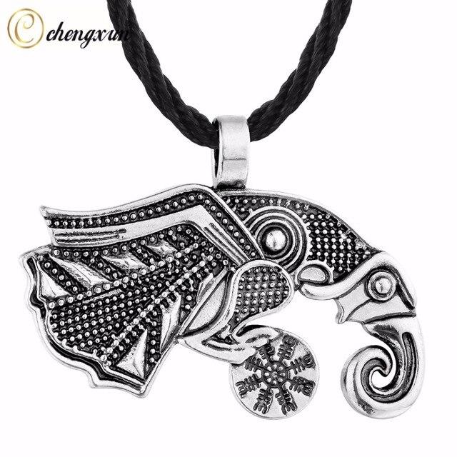 Chengxun Retro Raven Of Odin S Symbol Viking Pendant Men Necklace
