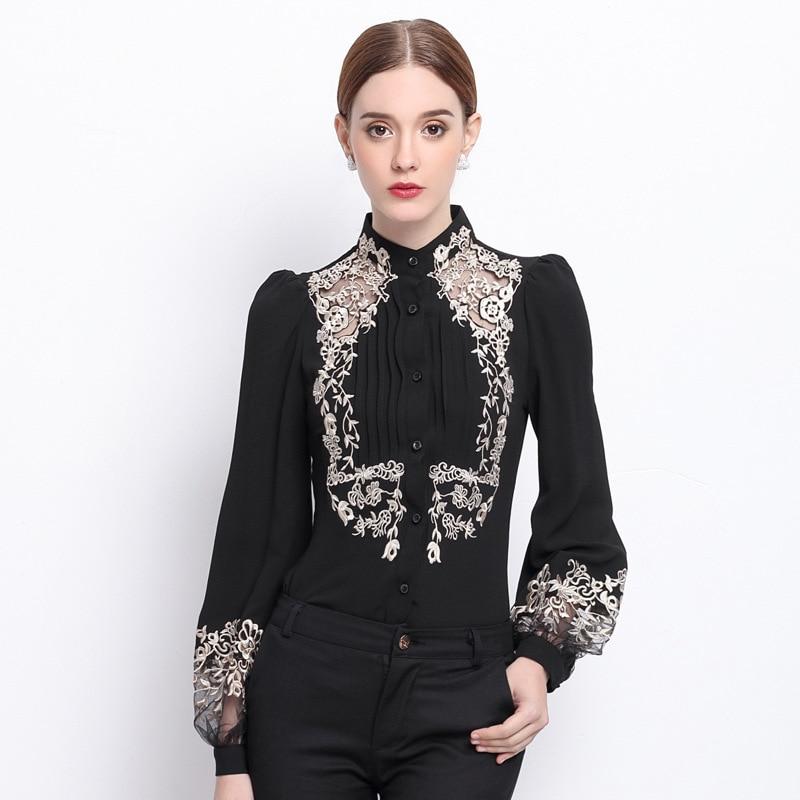 font b 2017 b font Spring Women Elegant Hollow Princess Long Sleeve Brand Silk font