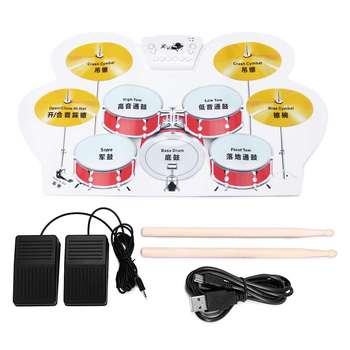 Portable Electronic Drum Digital USB 9 Pads Roll Up Drum Set Plastic Electric Drum Pad Kit With DrumSticks Foot Pedal For Kids