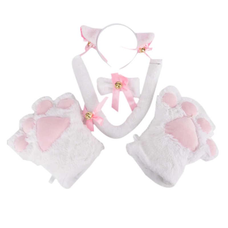 Для женщин, для девушек, для кошек, для девочек, плюшевый колокольчик, повязка на голову, галстук, хвост, лапы, для горничной, нарядное платье, набор, вечерние, для косплея, кошачьи ушки, меховые заколки для волос