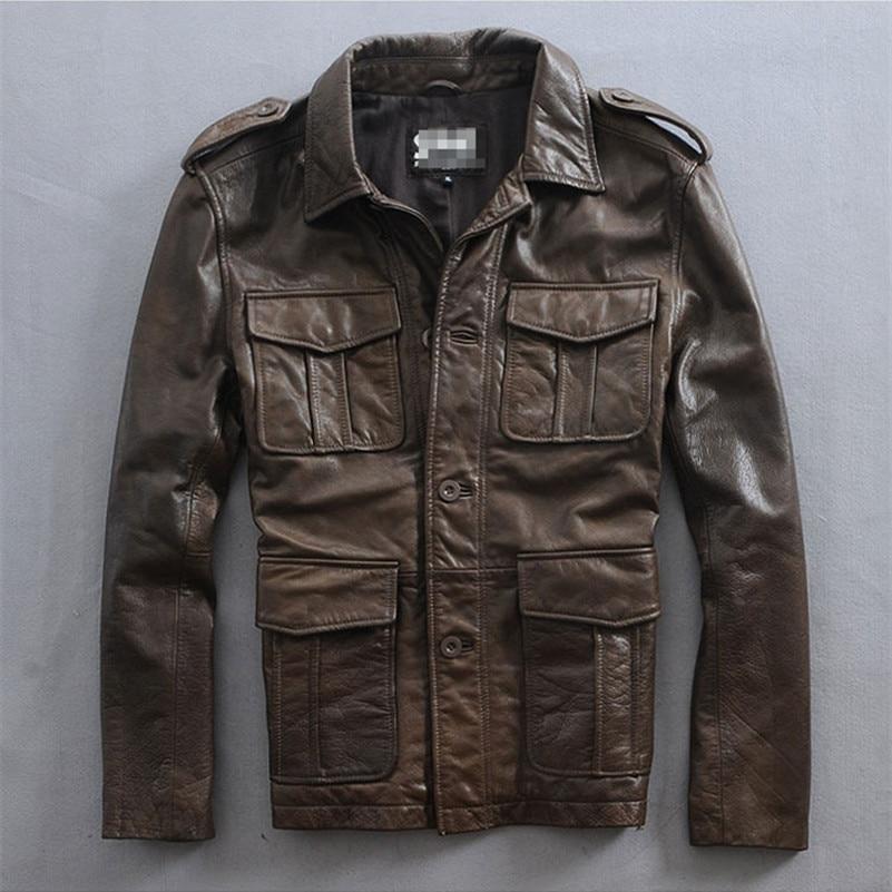 Rindsleder Vier Neuseeland M65 Taschen Braun Jacke Männer 80vNwmn