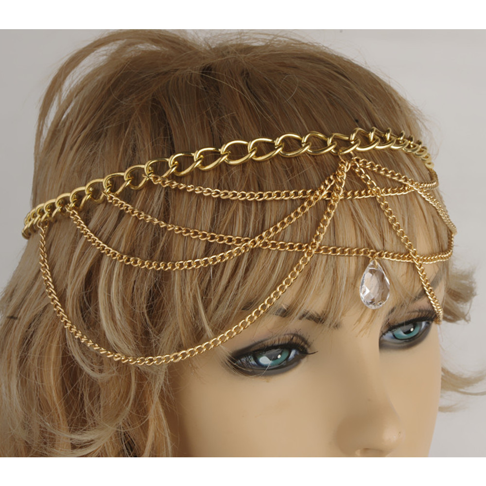 Vintage Forehead Jewelry Tassel Indian Head Chain Exaggerated Gold multilayer Drops Crystal Hair ornaments bijoux de tete CF128