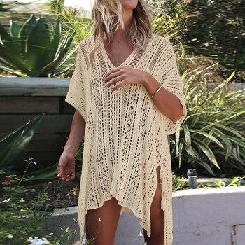 c6963fc58607a7a 2019 вязаное белое пляжное платье, туника, длинное парео, бикини, пляжное  платье, накидка, купальный халат, пляжная одежда