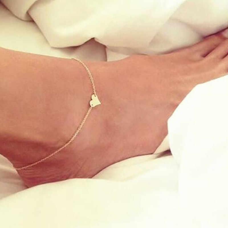 2018 Kalp Plaj Yalınayak Sandalet Halhal Zinciri Kız Gümüş Altın Ayak Bilezikler moda takı Kadınlar için Yalınayak Toptan NS1