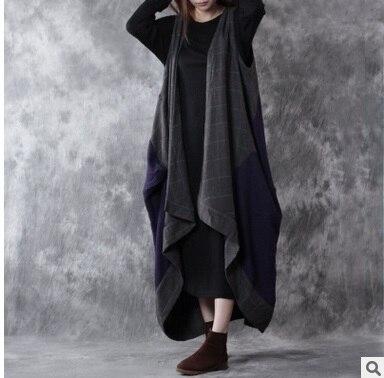 Выпуск продукта в осенью 2016 года качество бренда в оригинальный дизайн свободно большие ярдов хлопка шерсти жилет женский