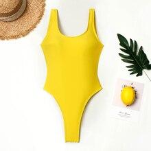 все цены на Thong One Piece Swimsuit Women Vintage Swimwear Cut Out Back Monokini Yellow Bathing Suit 2019 Beach Wear Maillot De Bain онлайн