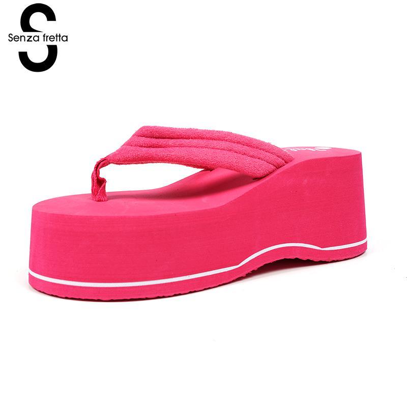 Senza Fretta Women Shoes Outdoor Flip Flops Beach Sandals Thick High Heel Flip Flops 2 Colors Flip Flops Wedge Platform Slippers