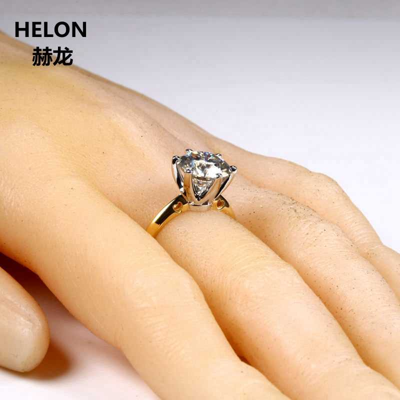 3ct Moissanites טבעת מוצק 14 k צהוב זהב עגול VVS/F-G מעבדה Moissanites אירוסין טבעת נשים לבן זהב שיניים