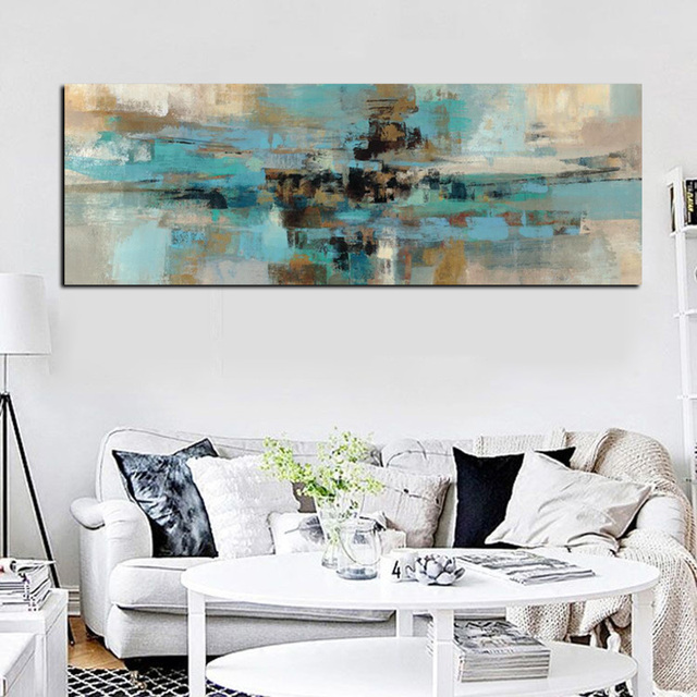 Light Blue Canvas Painting Posters And Prints Modern Abstract Oil Wall Art Bedroom Living Room