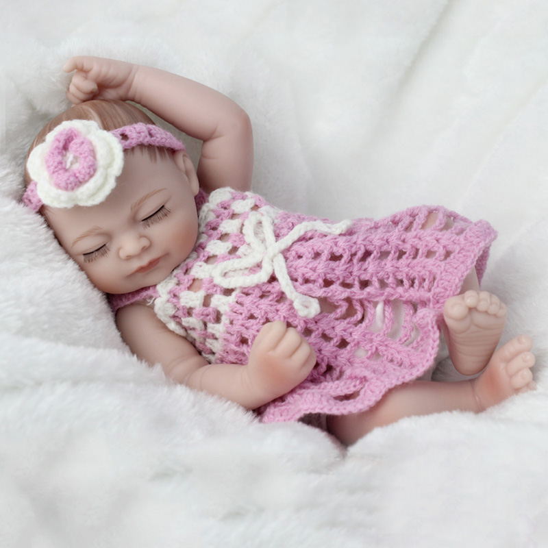 28cm Silicone Bebe Reborn Baby Dolls Full Vinyl Girl Body Cute Doll with Blue Dress Kids Newborn Toys for Christmas Day Gifts
