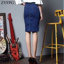ZYFPGS 2019 Spring New Women Jeans Skirt Metal button Denim Skirts Female Ladies Fashion Elasticity 6XL Slim Sales