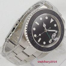 цена 40mm Bliger Black Sterile Dial Sapphire Glass GMT Date Luminous Marks ceramic bezel Automatic Mechanical Men's Watch онлайн в 2017 году